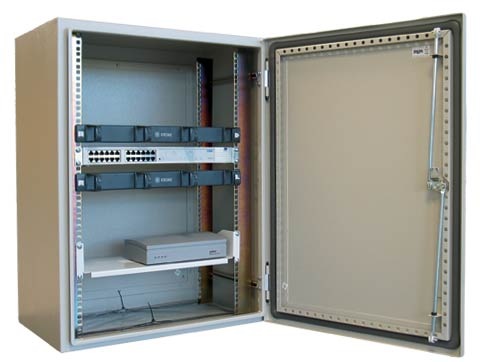 Ausrack IP enclosure with installed equipment.