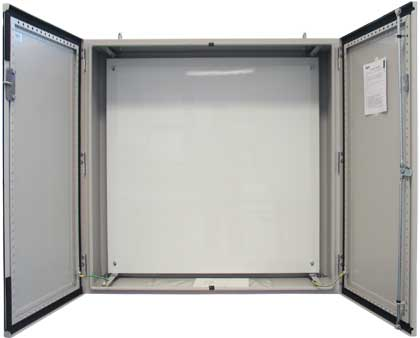 Double door enclosure with 2mm white mounting pan
