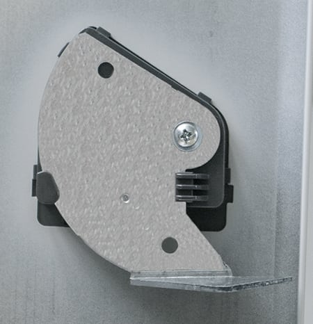 Gravity catch is designed to create a positive closing position and the handle remains flush