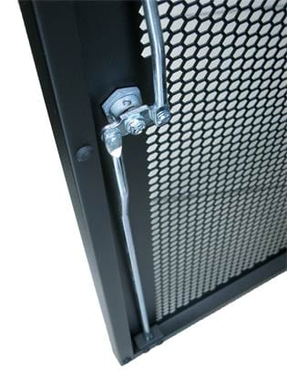 Mesh door and locking mechanism