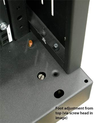 Foot adjustment from top (via screw head)