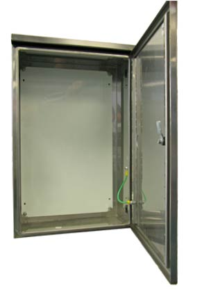 Universal NI enclosure with door open showing installed equipment.