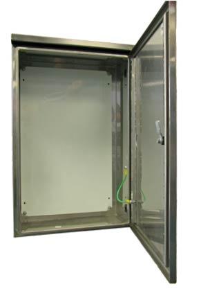 Universal NI enclosure with door open showing installed equipment.