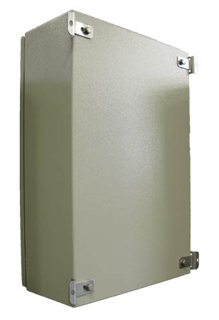 Back of enclosure with wall mount brackets