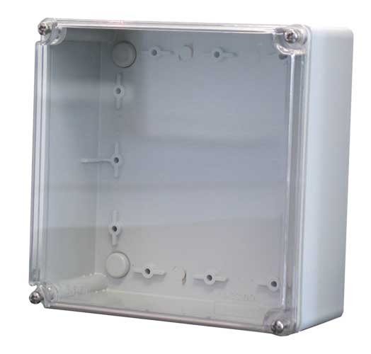 Enclosure with transparent polycarbonate cover