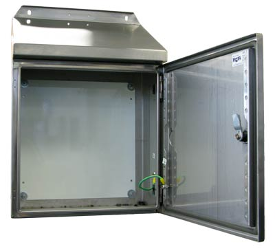 Enclosure with door open